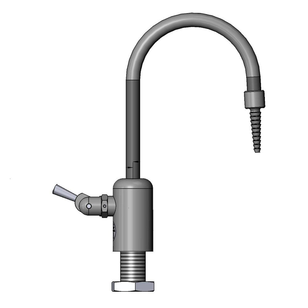 "T & S Brass and Bronze Works T&S BL-9510-01 Gray Wall Mount PVC Single Panel Distilled / Deionized Water Faucet with 9 1/4"" Rigid Gooseneck and Serrated Tip at Sears.com"