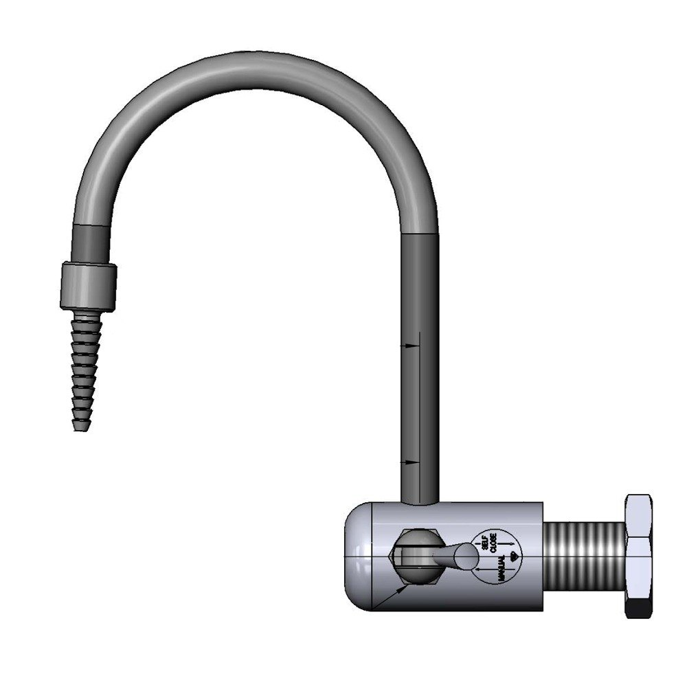 "T & S Brass and Bronze Works T&S BL-9520-01 Gray Wall Mount PVC Single Panel Distilled / Deionized Water Faucet with 9 1/4"" Rigid Gooseneck, Serrated Tip, an at Sears.com"