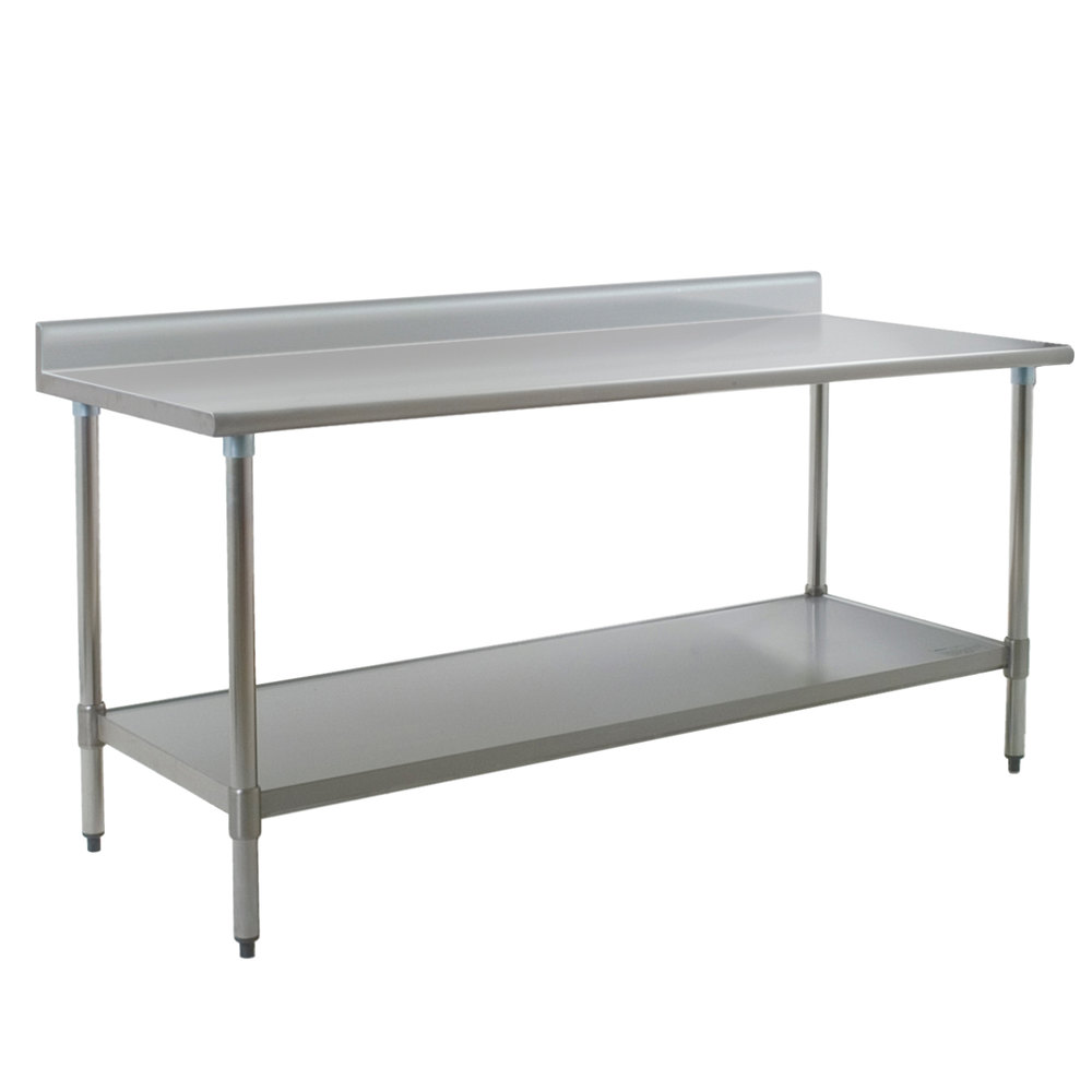 eagle group t2472b bs 24 x 72 stainless steel work table with backsplash and galvanized undershelf - Stainless Steel Work Table With Backsplash
