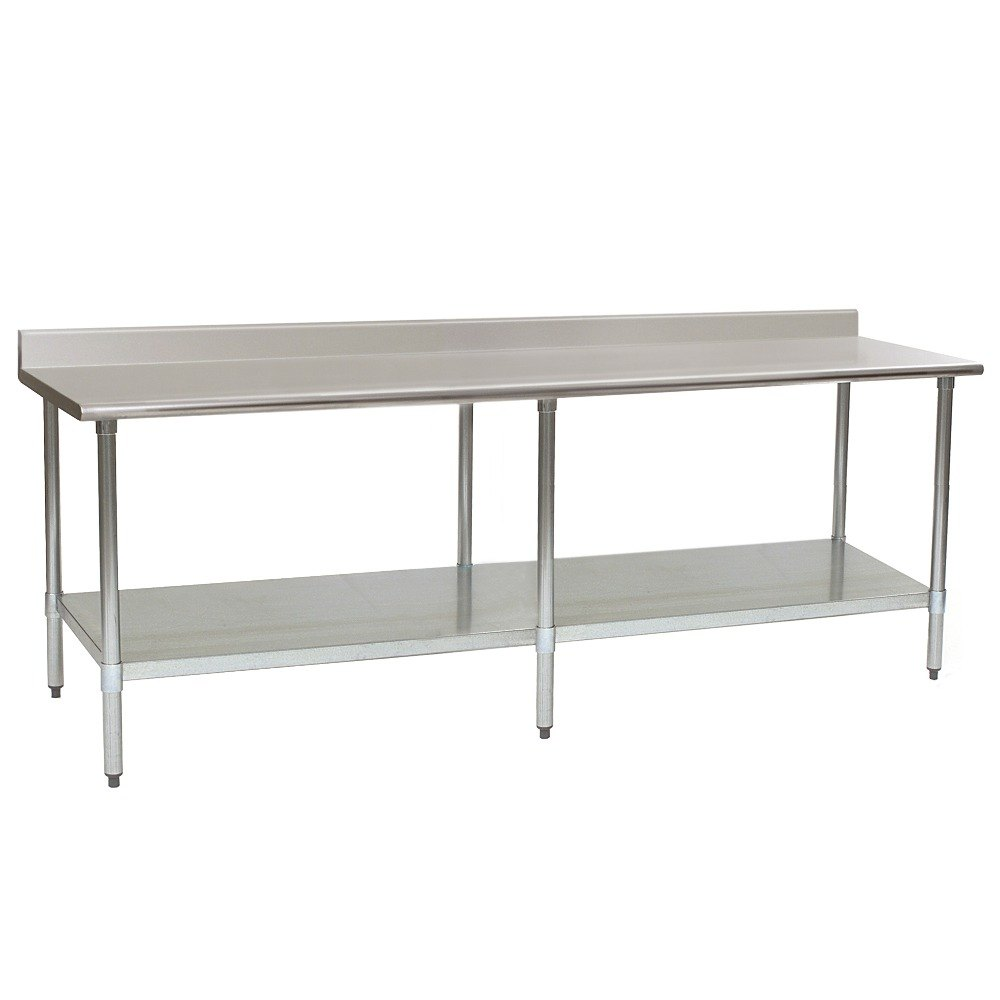 Stainless Steel Work Table With Backsplash And Galvanized Undershelf.  Stainless ...