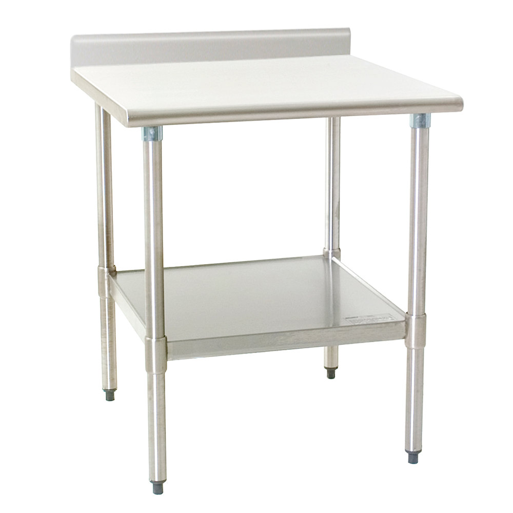 "Eagle Group T3030B-BS 30"" x 30"" Stainless Steel Work Table with Backsplash and Galvanized Undershelf"