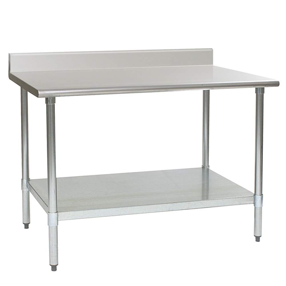 "Eagle Group T3060B-BS 30"" x 60"" Stainless Steel Work Table with Backsplash and Galvanized Undershelf"