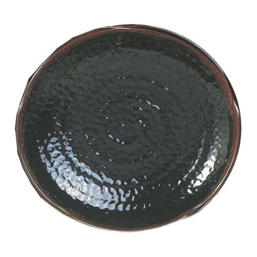 "Tenmoku Black 12"" Lotus Shaped Melamine Plate - 12/Pack"