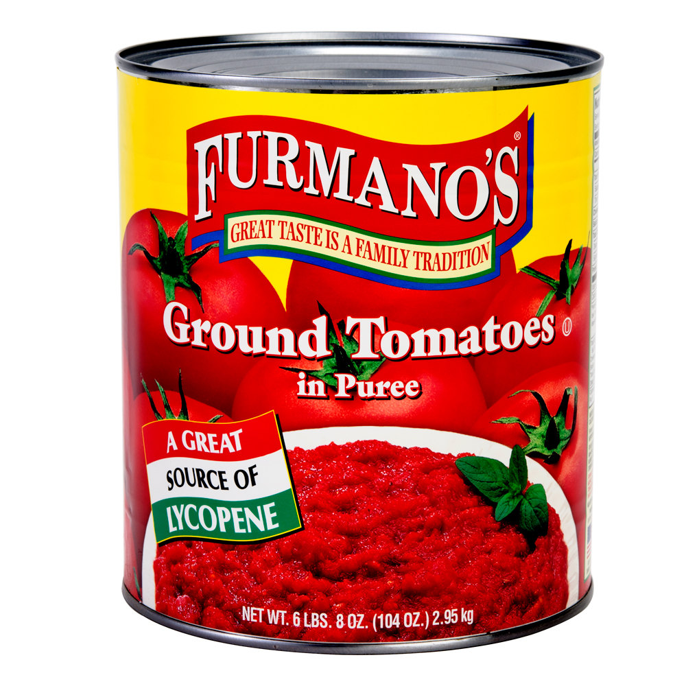 Furmano's #10 Can Ground Peeled Tomatoes in Puree - 6/Case