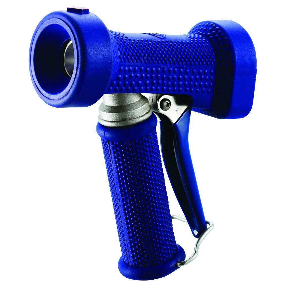 "T&S MV-2516-44 Stainless Steel Rear Trigger Water Gun with Blue Rubber Cover, 9/16"" Flow Orifice, and 1/2"" NPT Threads"