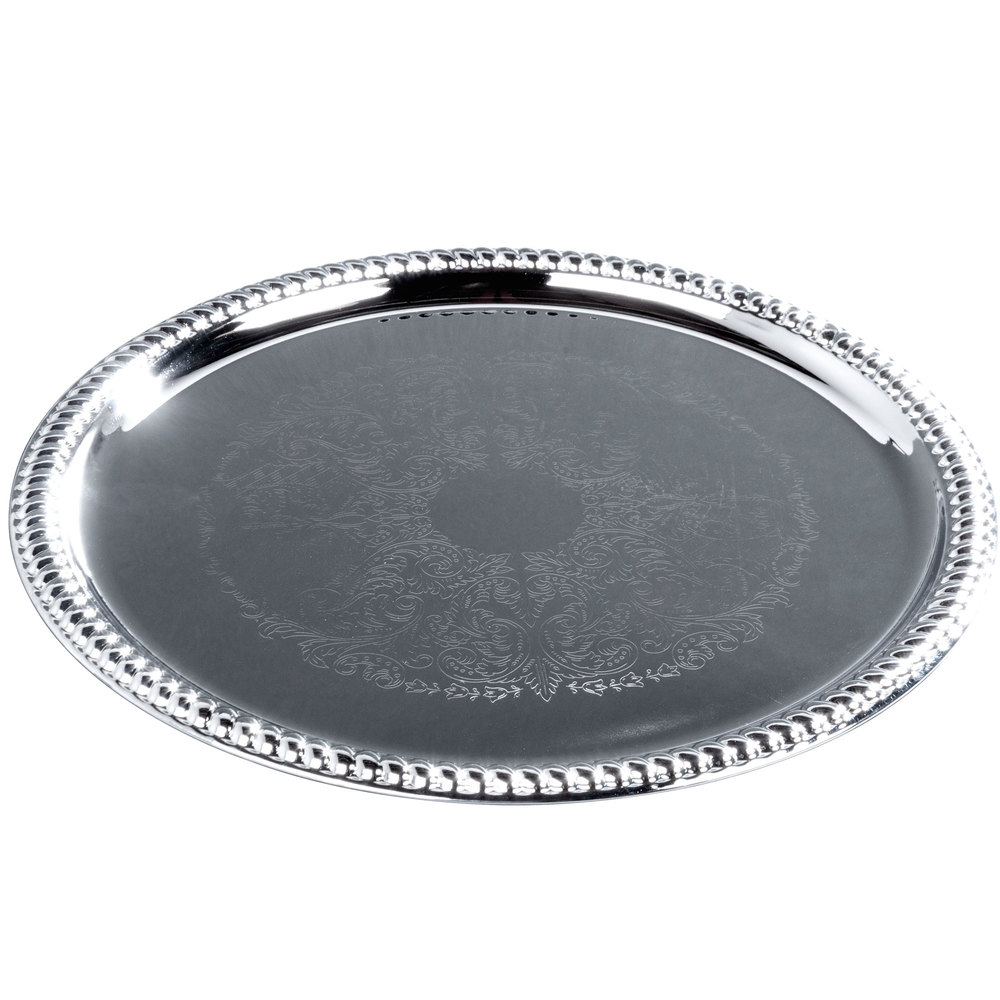 "14"" Round Chrome-Plated Buffet Catering Tray"