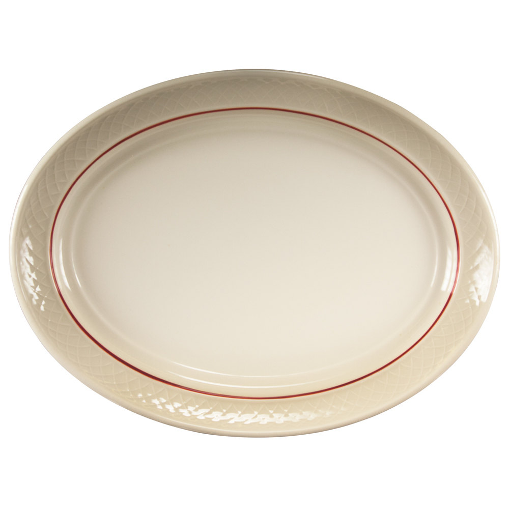 "Homer Laughlin 1492-0352 Gothic Red Jade 11 1/2"" Off White Oval Platter - 12/Case"