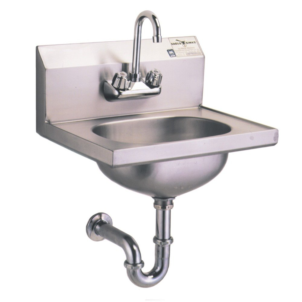 Sink Trap : ... Hand Sink with Gooseneck Faucet, P-Trap, Tail Piece, and Basket Drain