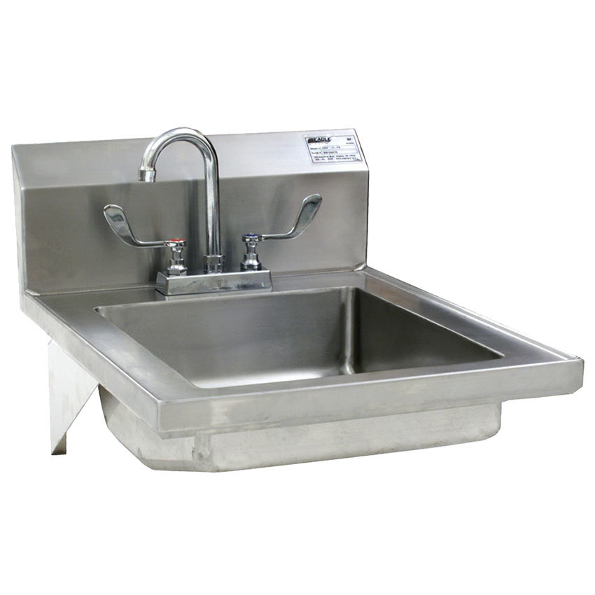 Eagle Group HSAP-14-FW Hand Sink with Gooseneck Faucet, Wrist Action Handles, Wall Brackets, and Basket Drain