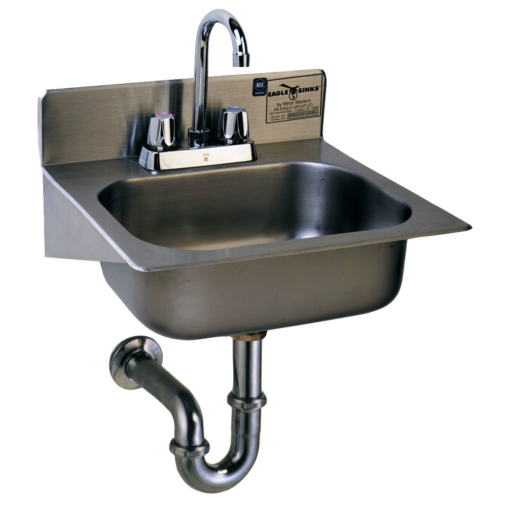 Sink Trap : ... Hand Sink with Gooseneck Faucet, Basket Drain, P-Trap, and Tail Piece