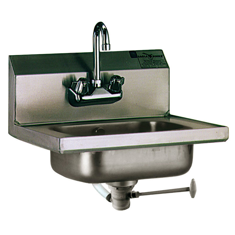 Eagle Group HSA-10-FO Hand Sink with Gooseneck Faucet, Polymer Lever Drain, and Overflow