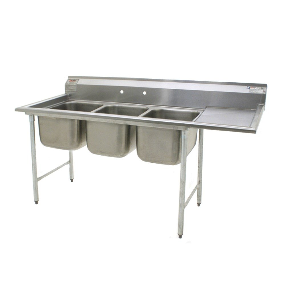 ... 24 Three Compartment Stainless Steel Commercial Sink with One