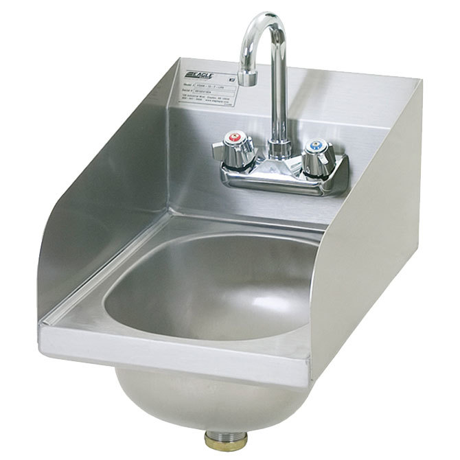 "Eagle Group HSAN-10-F-LRS 18"" x 12"" Hand Sink with Gooseneck Faucet, Side Splashes, and Basket Drain"