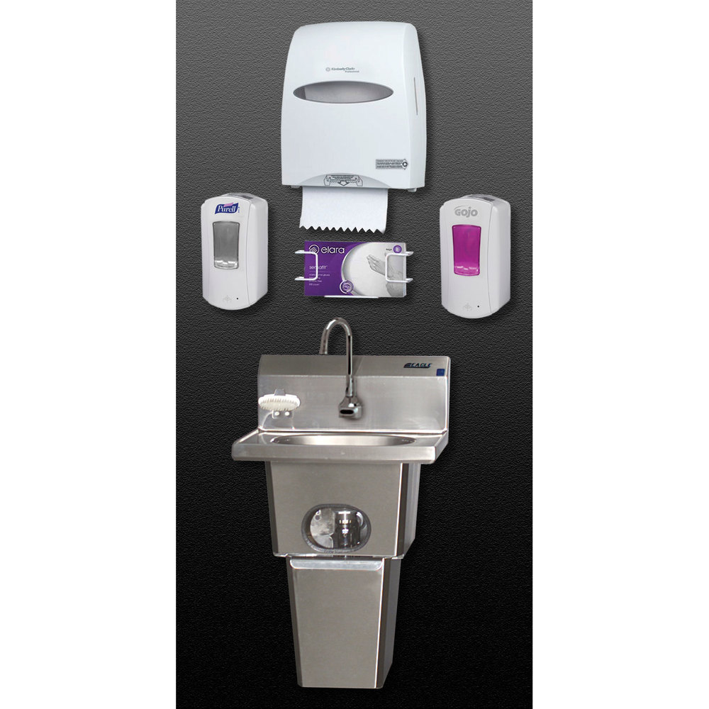 Eagle Group HFL-5000-LRS Touch Free Handwashing System with Waste Bin and End Splashes at Sears.com