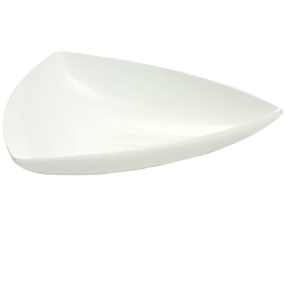 "Tablecraft CW11006IV 11"" Ivory Cast Aluminum Triangle Display Bowl"