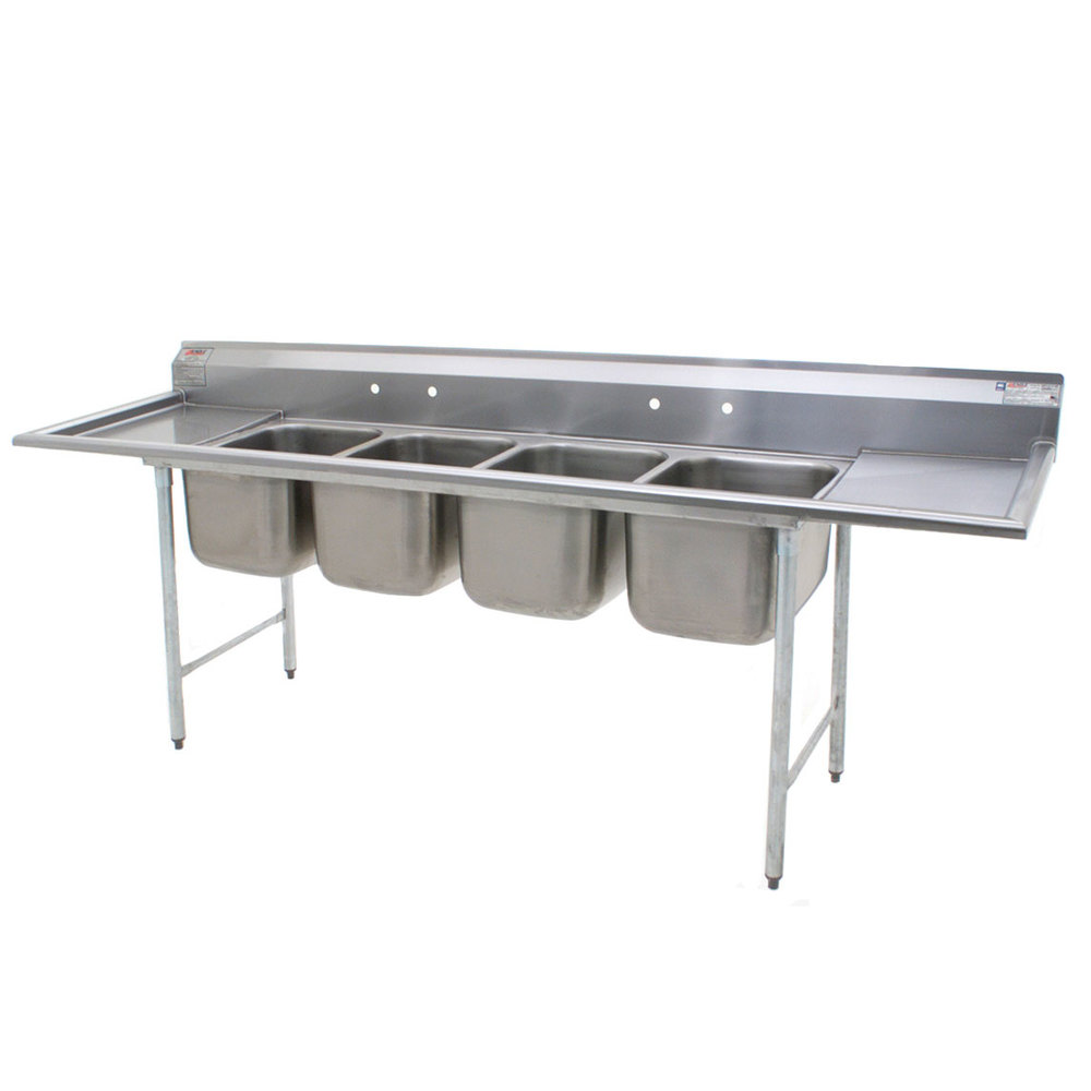 ... Stainless Steel Commercial Sink with Two Drainboards - 107 3/4