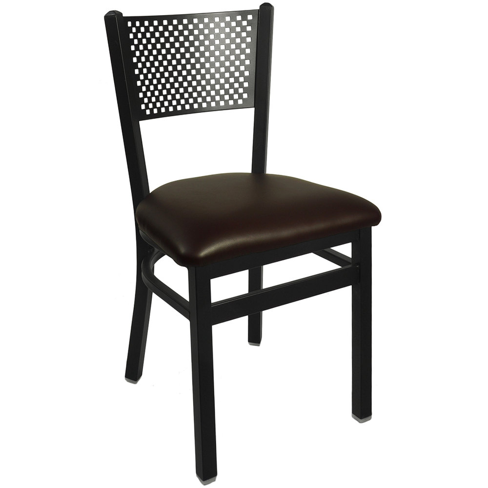 "BFM Seating 2161CDBV-SB Polk Sand Black Steel Side Chair with 2"" Dark Brown Vinyl Seat"
