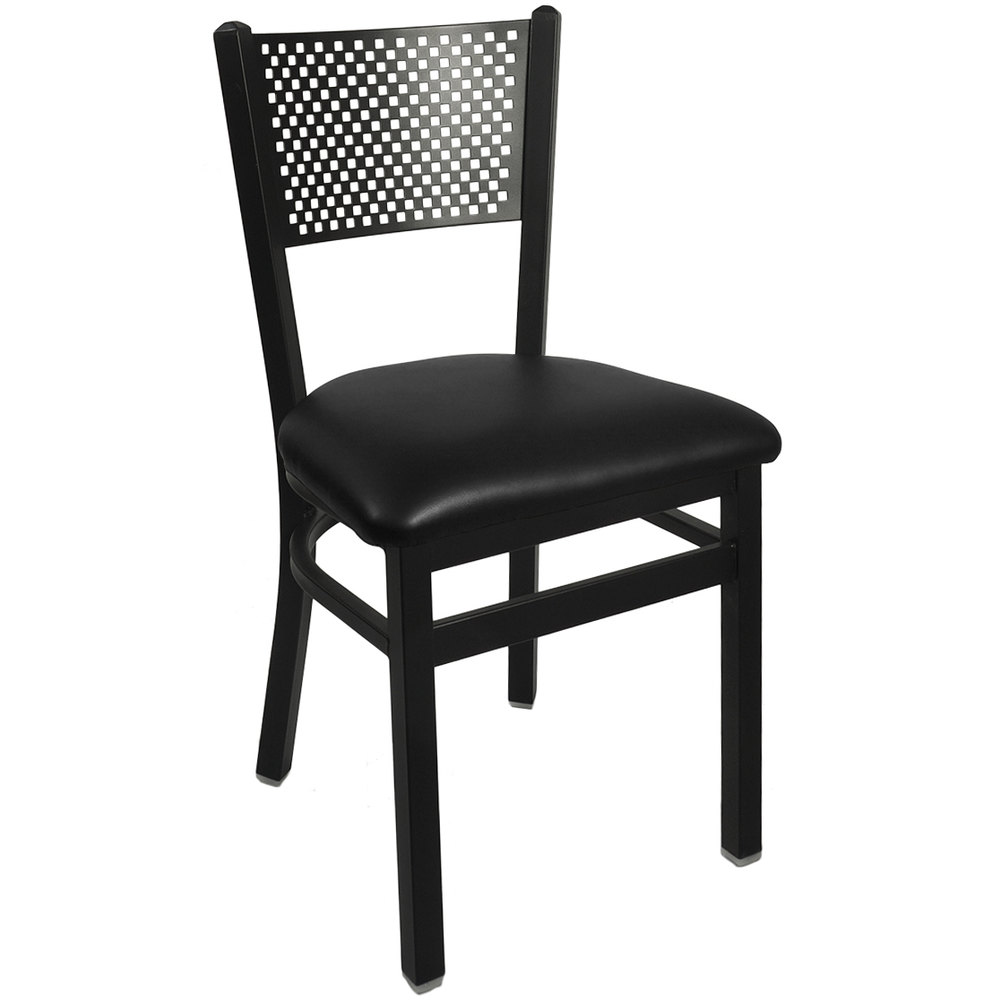 "BFM Seating 2161CBLV-SB Polk Sand Black Steel Side Chair with 2"" Black Vinyl Seat"