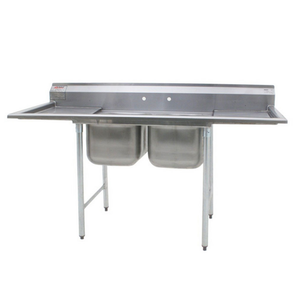"Eagle Group 414-24-2-24 Two 24"" Bowl Stainless Steel Commercial Compartment Sink with Two 24"" Drainboards at Sears.com"