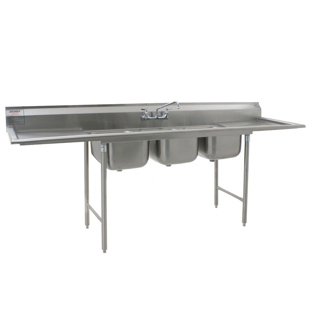 "Eagle Group 414-16-3-24 Three 20"" x 16"" Bowl Stainless Steel Commercial Compartment Sink with Two Drainboards at Sears.com"