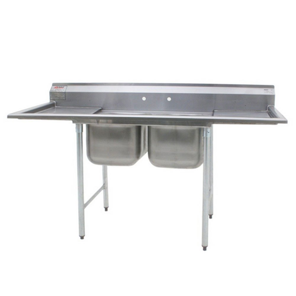"Eagle Group 414-16-2-18 Two 16"" Bowl Stainless Steel Commercial Compartment Sink with Two 18"" Drainboards at Sears.com"