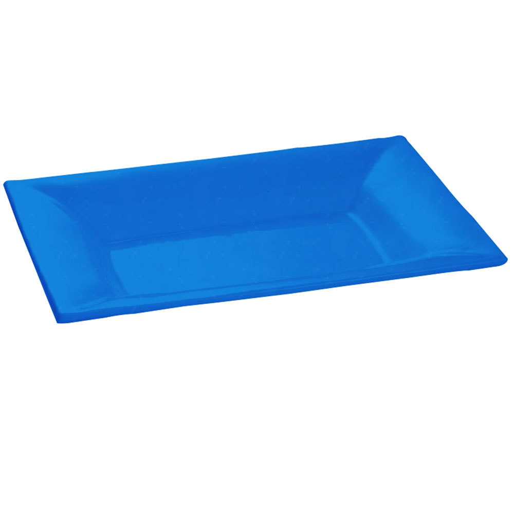 Tablecraft CW12027 18 inch x 13 inch Blue Cast Aluminum Wide Rim Rectangle Platter