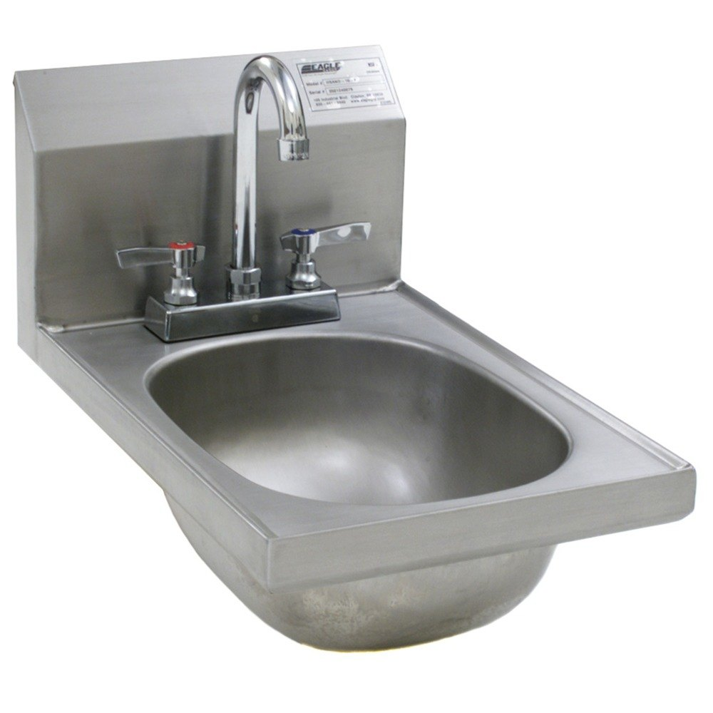 Eagle Group HSAND-10-F Space Saver Hand Sink with Deck Mount Gooseneck ...