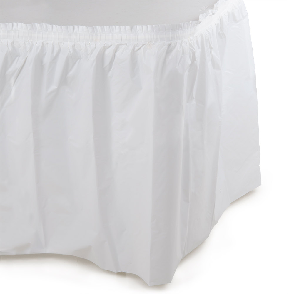 White Plastic Table Skirt - 14' x 29 inch