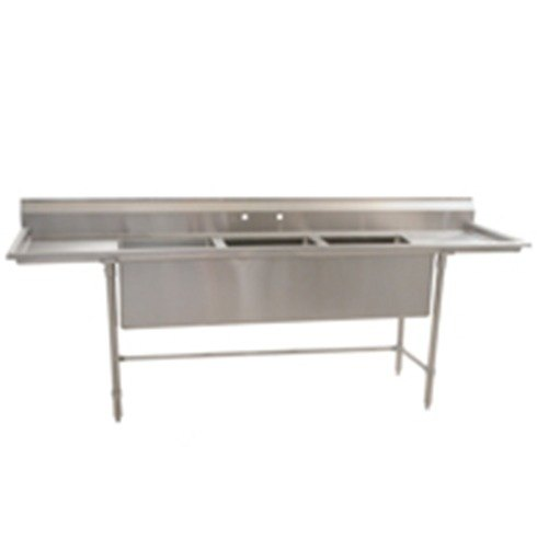 "Eagle Group S14-28-3-18-SL Three 28"" x 20"" Bowl Stainless Steel Fabricated Compartment Sink with Two 18"" Drainboards at Sears.com"