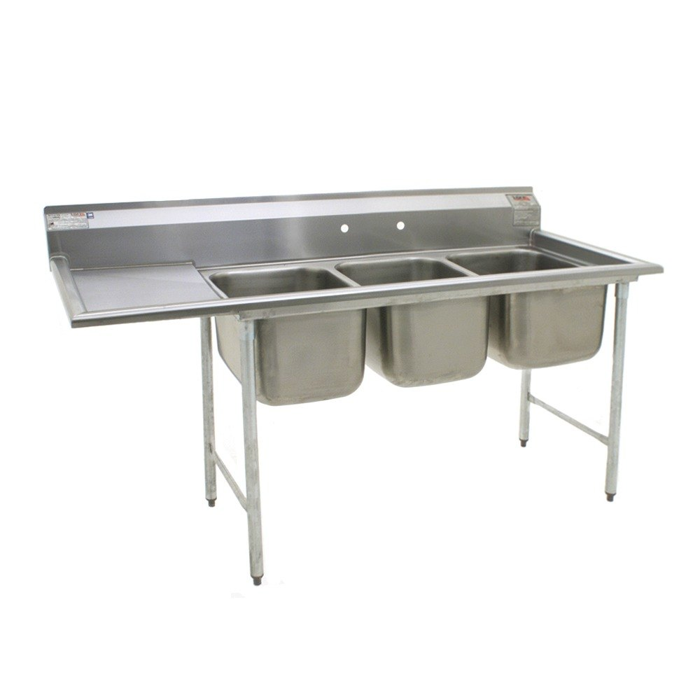Stainless Steel Sinks With Drainboards : ... Stainless Steel Commercial Sink with One Drainboard - 86 3/4