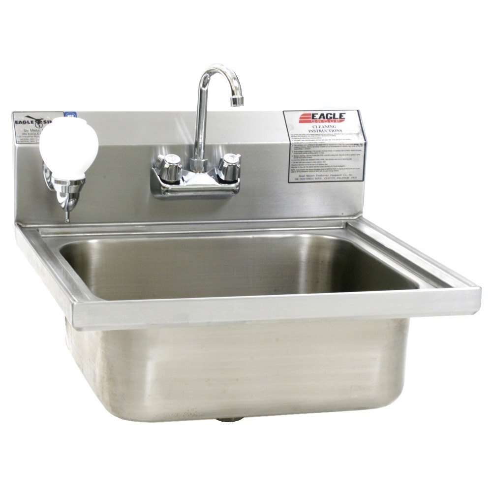 Eagle Group W1916FA Stainless Steel Wall Mount Hand Sink with Splash ...