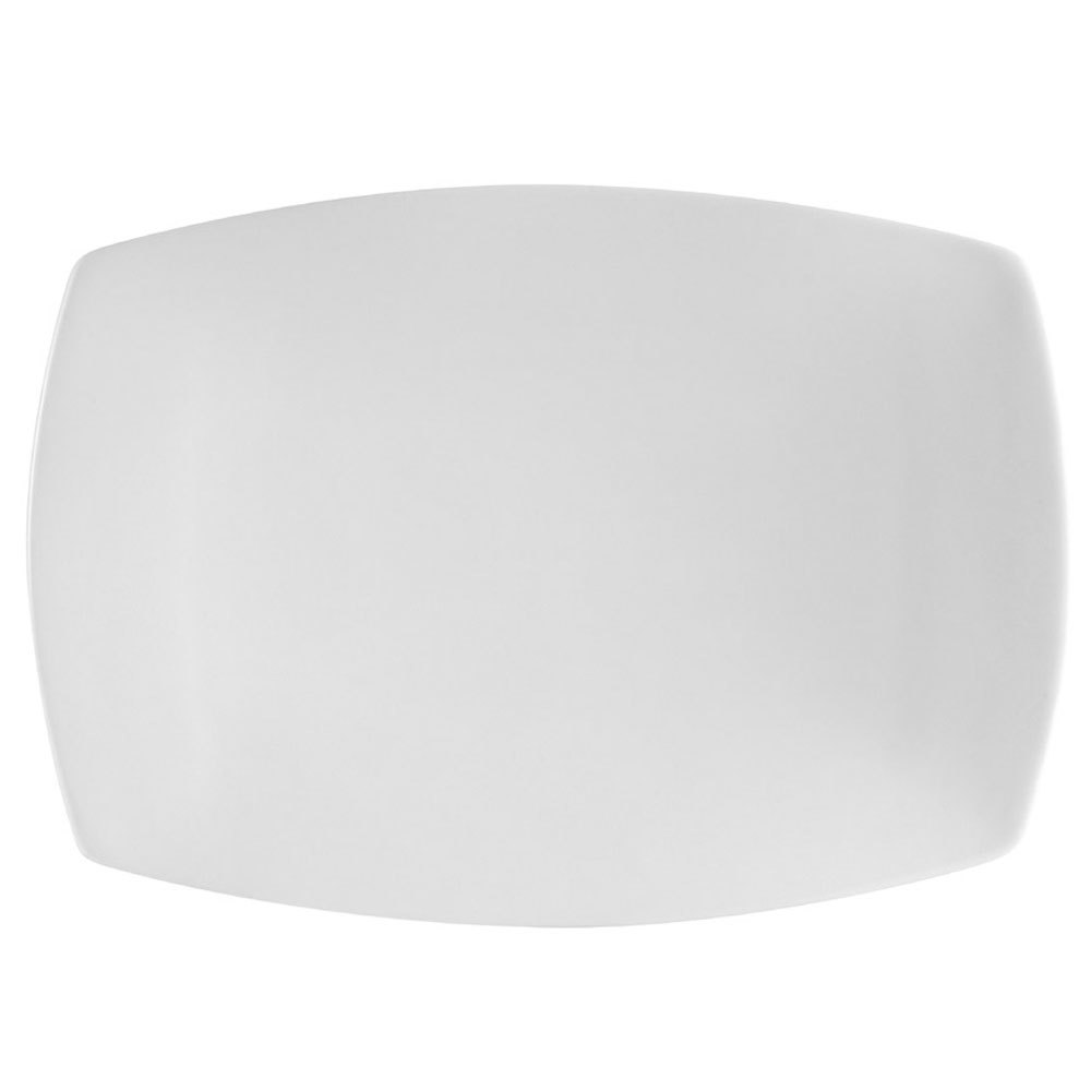 "CAC COP-RT51 Coupe 14 1/2"" x 9 3/4"" Bright White Porcelain China Rectangular Platter - 12/Case"