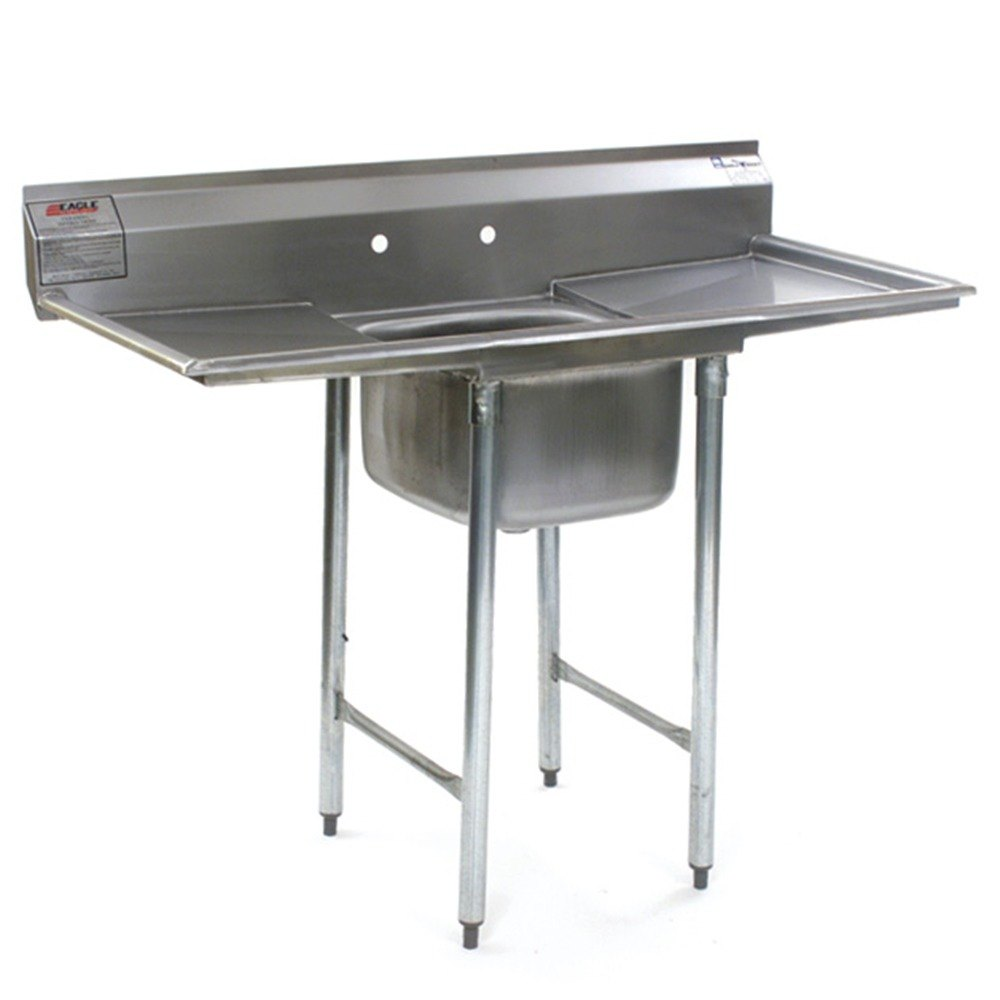 "Eagle Group 412-24-1-18 31 3/4"" x 62"" One Bowl Stainless Steel Commercial Compartment Sink with Two Drainboards at Sears.com"