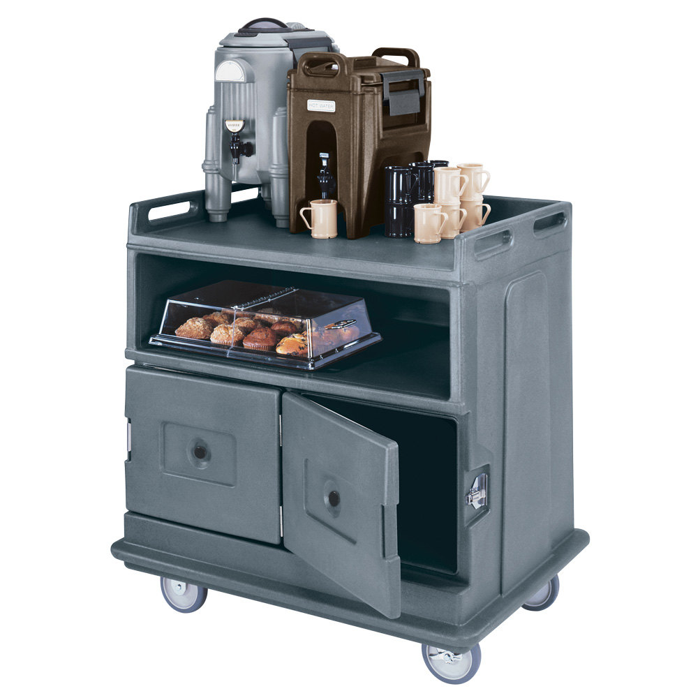 "Cambro MDC24F191 Granite Gray Beverage Service Cart with 2 Doors - 44 1/2"" x 30"" x 44"""