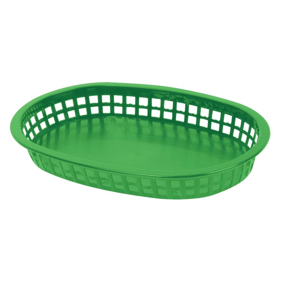 10 3/4 inch x 7 inch x 1 1/2 inch Green Oval Plastic Fast Food Basket 12 / Pack