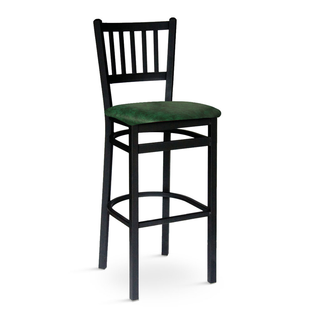 Bfm Seating Troy Metal Barstool With Green Vinyl Seat