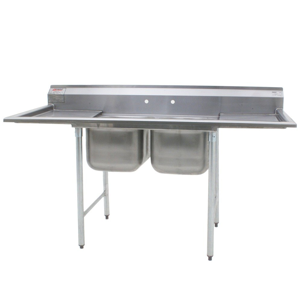 "Eagle Group 412-24-2-18 31 3/4"" x 88"" Two Bowl Stainless Steel Commercial Compartment Sink with Two Drainboards at Sears.com"