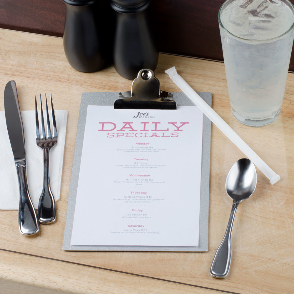 "11"" x 17"" Menu Solutions ALSIN17-CLIP Single Panel Aluminum Clipboard Menu Board with Brushed Finish"