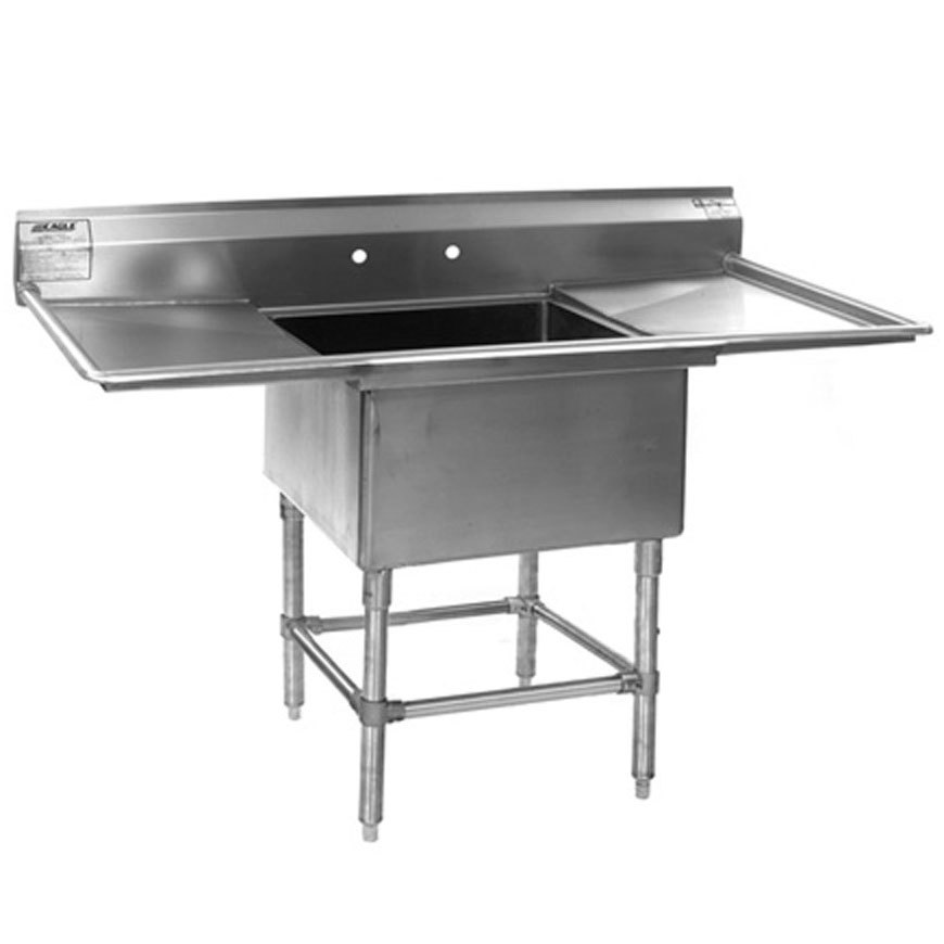 "Eagle Group FN2018-1-24-14/3 One 20"" x 18"" Bowl Stainless Steel Spec-Master Commercial Compartment Sink with Two 24"" Drainboards at Sears.com"