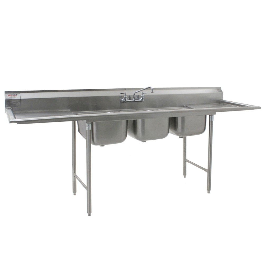 "Eagle Group 412-24-3-24 Three 24"" Bowl Stainless Steel Commercial Compartment Sink with Two 24"" Drainboards at Sears.com"