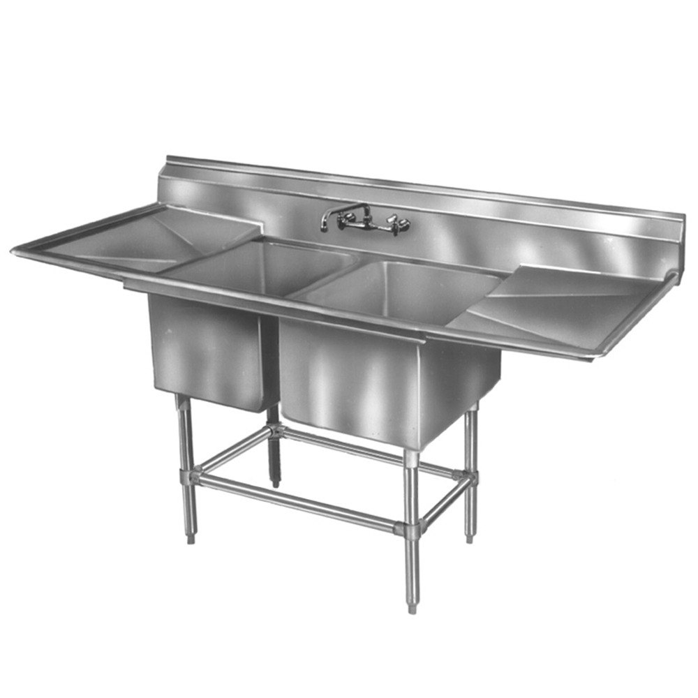 "Eagle Group FN2036-2-24-14/3 Two 20"" x 18"" Bowl Stainless Steel Spec-Master Commercial Compartment Sink with Two 24"" Drainboards at Sears.com"