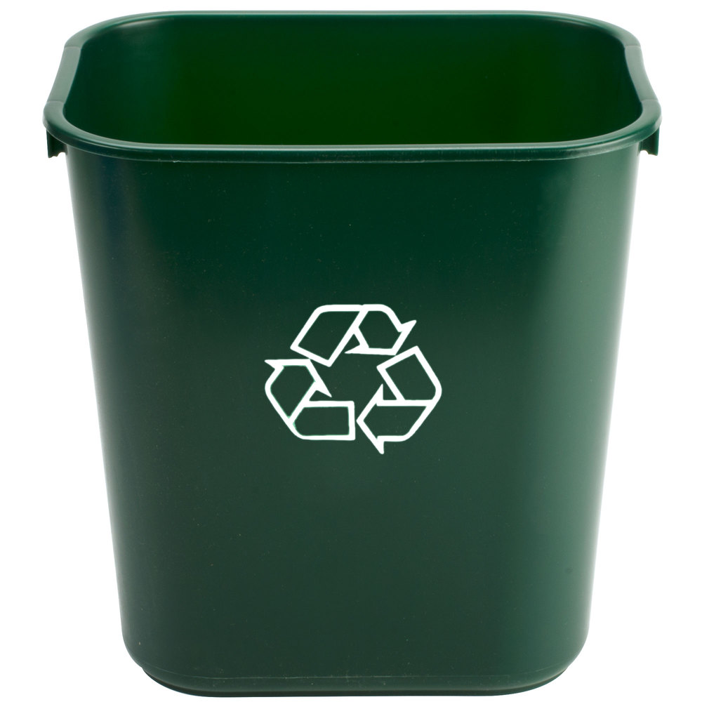 Waste Basket 1358-2 13.6 qt. green rectangular recycling wastebasket