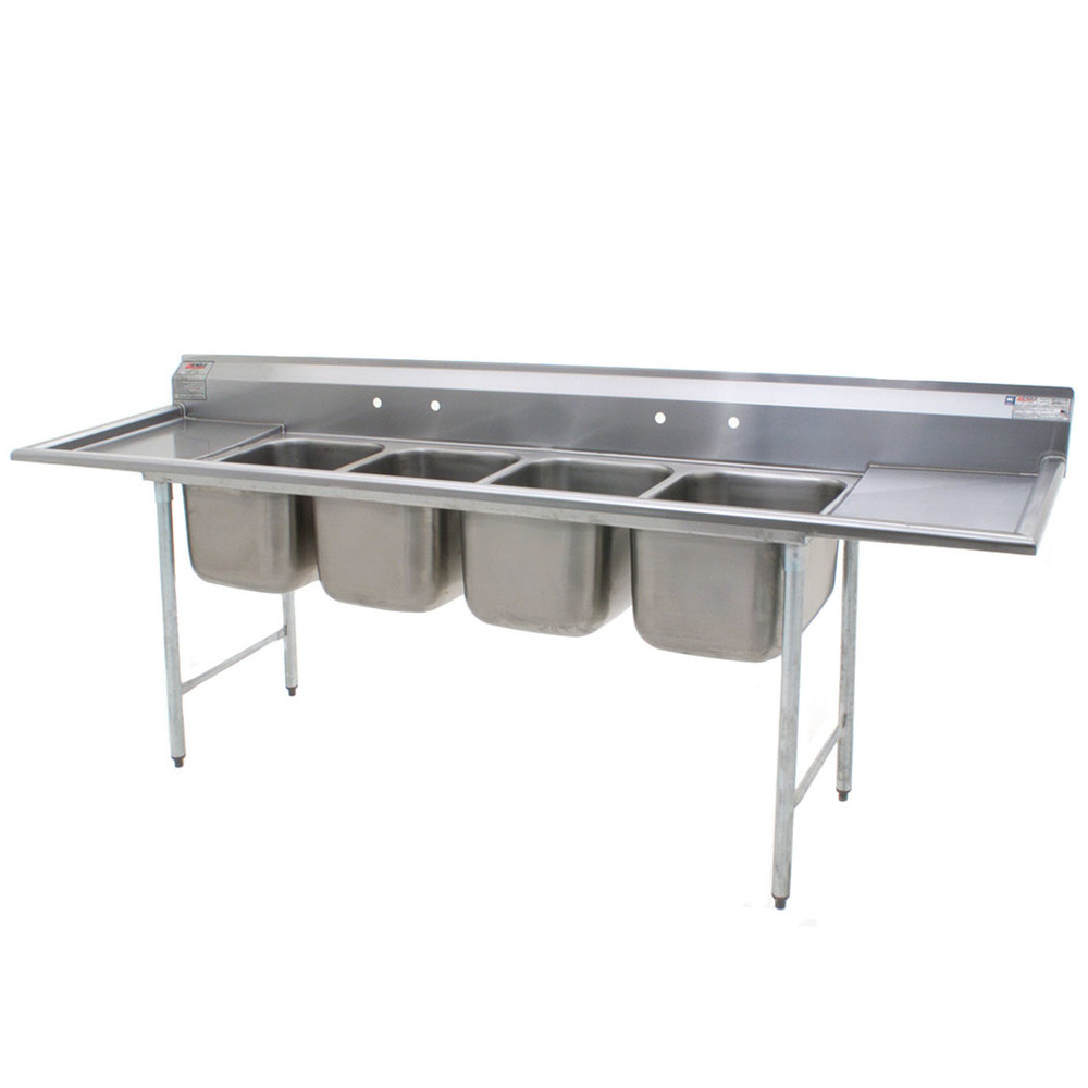"Eagle Group 414-24-4-24 Four 24"" Bowl Stainless Steel Commercial Compartment Sink with Two 24"" Drainboards at Sears.com"