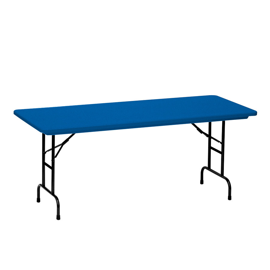 correll r series ra3072 30 x 72 blue plastic adjustable height folding table. Black Bedroom Furniture Sets. Home Design Ideas