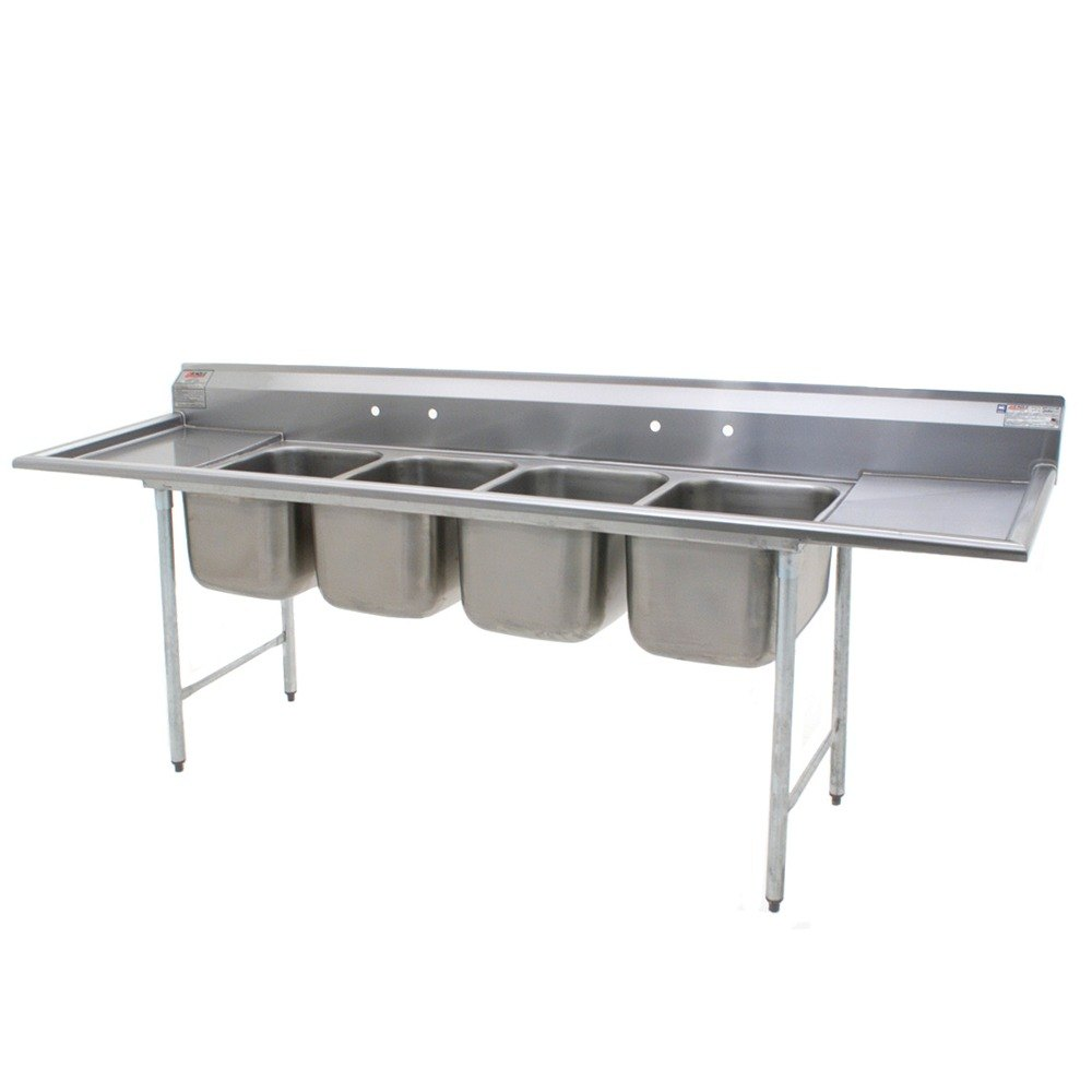 "Eagle Group 414-24-4-18 Four 24"" Bowl Stainless Steel Commercial Compartment Sink with Two 18"" Drainboards at Sears.com"