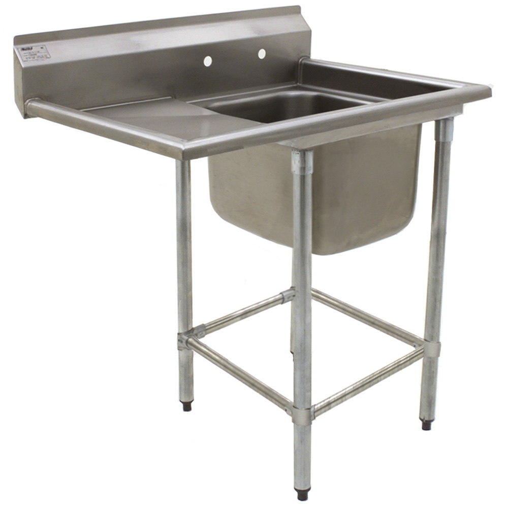 "Eagle Group FN2016-1-24-14/3 One 20"" x 16"" Bowl Stainless Steel Spec-Master Commercial Compartment Sink with 24"" Drainboard"