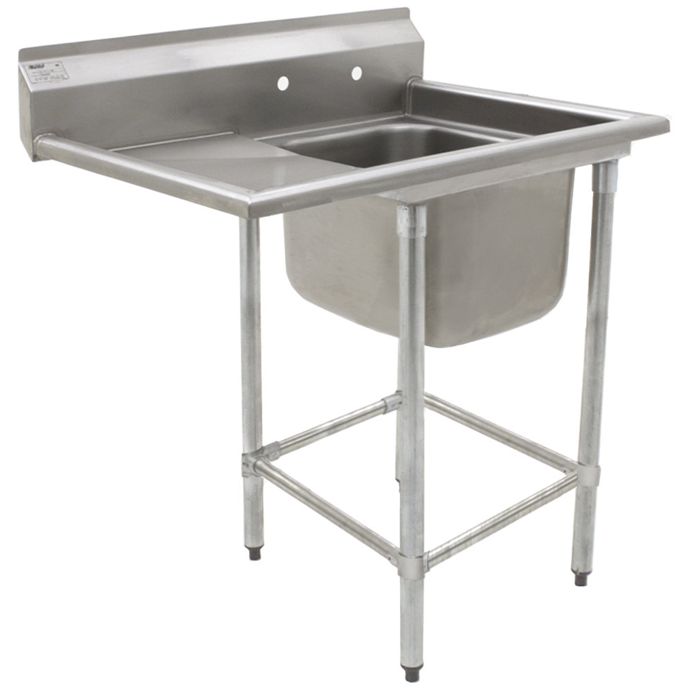 "Eagle Group FN2424-1-24-14/3 One 24"" x 24"" Bowl Stainless Steel Spec-Master Commercial Compartment Sink with 24"" Drainboard"