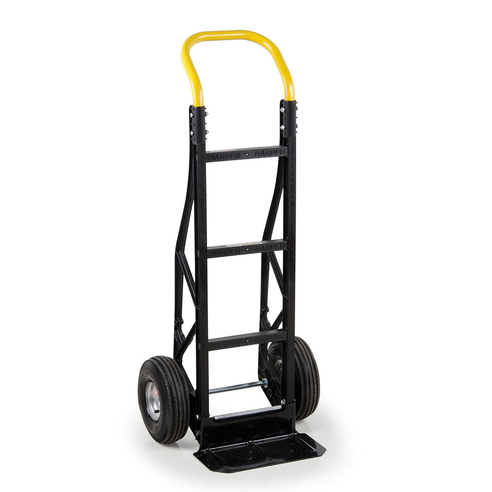 "Harper PGCSK19BLK Continuous Handle Steel Tough 600 lb. Nylon Hand Truck with 10"" x 3 1/2"" Pneumatic Wheels"