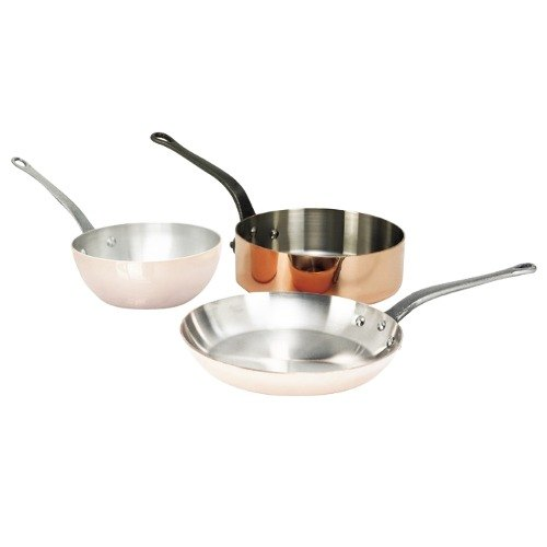 De Buyer 6462.28 4.9 Qt. Straight-Sided Copper Saute Pan with Cast Iron Handle