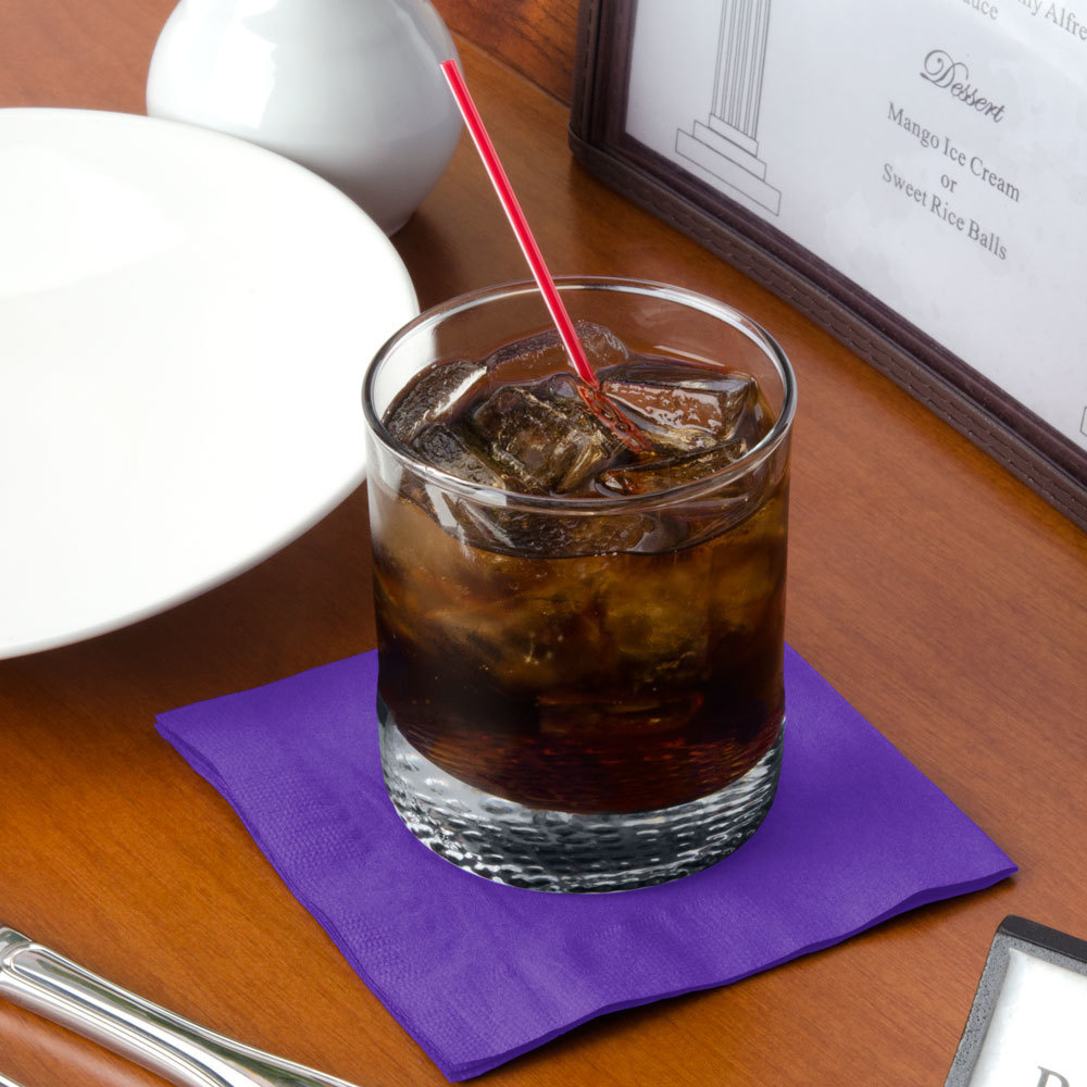 "Choice 10"" x 10"" Customizable Purple 2-Ply Beverage / Cocktail Napkins - 1000/Case"